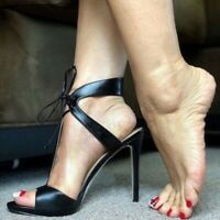Womens Ladies High Heel Sandals Lace Up Stiletto Peep Toe Strappy Shoes Party SZ