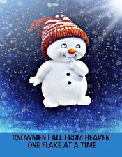 METAL REFRIGERATOR MAGNET Snowmen Fall From Heaven One Flake At A Time Christmas