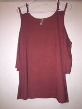 Nelly Double-Strap Cold-Shoulder Top- Marsala- Size M