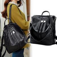Damen Mädchen Leder Rucksack Reise Schultasche Schultertasche Handtasche schwarz