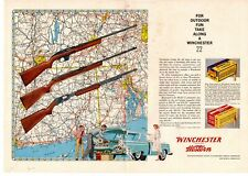 1959 Winchester Western Model 77 55 61 22 Long Rifle Ammunition 2-Page Print Ad