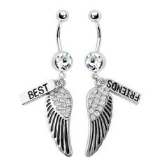 1 Set Belly Button Navel Rings Best Friends Wings Dangle with Surgical Steel