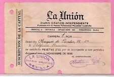 Recibo Suscripción al Diario Grafico La Unión Sevilla año 1936
