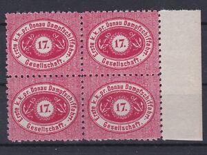 DDSG 17 Kr. Scharlachrot ND 4er Block mit Seitenrand Postfrisch ** MNH LESEN