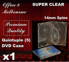 1 x PREMIUM QUALITY Quintuple DVD Case Cover 14mm Spine Clear Case - Holds 5 DVD