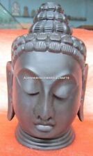 "12"" Black Marble Buddha Idol Head Statue Handmade Unique Work Decor E26"
