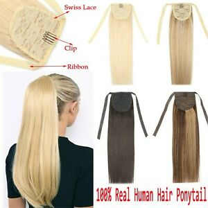 Virgin Remy Clip In Ponytail Weave Wrap 100%Real Human Hair Extensions Full Head