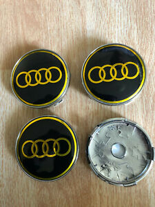 4x Audi Wheel Centre Cap Alloy Hub New Set of 4 Center Caps 60mm Black/Gold