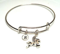 PERSONALIZED Pegasus Bangle Bracelet - choose an INITIAL, Pegasus Jewelry