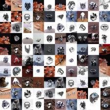 Fashion Men's Stainless Steel Silver Gothic Punk Charm Biker Finger Ring Gift