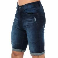 Mens Crosshatch Keasy Denim Shorts In Dark Blue- Button Fly- Distressed Detail-