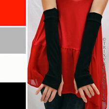 Cotton Fingerless Gloves Black Arm Warmers Rollerderby Elbow Length Sleeves 1010
