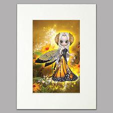 """Little Sunny Fairy Print women & girls yellow/gold Mounted Wall Art A412"""" x 16"""""""