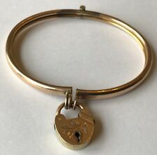 ANTIQUE ART DECO GOLD FILLED HEART PADLOCK HINGED BRACELET NO KEY REQUIRED