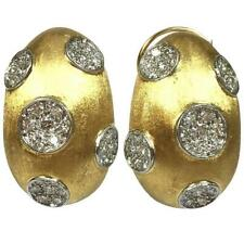 Yellow Gold & Platinum Earrings Hammerman Brothers Large Diamond 18K
