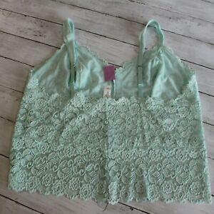 Cabernet Women's Lace Camisole Top Plus Size 3X Aqua Blue