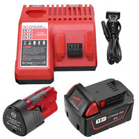 18V 5.0Ah  / 12V 3.0Ah Li-ion Battery & AC Charger For Milwaukee M18 M12 Tools
