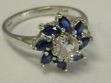 Style Cz Ring Size 6.25 Vintage Solid 14K White Gold Flower