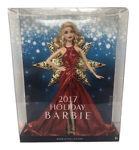 New Mattel Barbie 2017 Holiday Doll, Blonde Curls with Red Glittering Dress