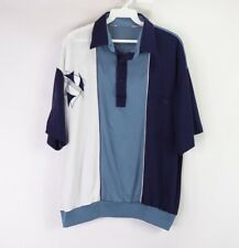 Vintage 80s Mens Large Abstract Print Short Sleeve Golf Polo Shirt Blue Cotton