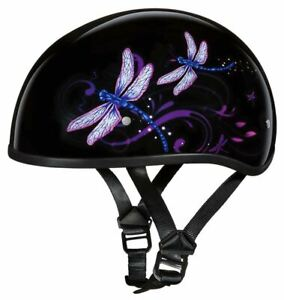 Daytona Skull Cap Dragonfly Half Helmet Womens Quick Release DOT XS-2XL