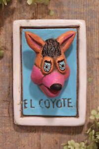 Clay Loteria Style El Coyote by Rafael Pineda Mexican Board Game Folk Art