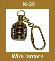 NEW WIRE LANTERN SHAPED BRASS MADE KEY RING KEYCHAIN KEY FOB KEY NAUTICAL