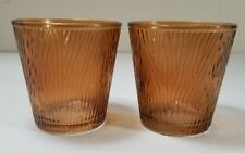 Yankee Candle - Set of 2 - AMBER BROWN Glass Votive Holders Wood Grain New W/Tag