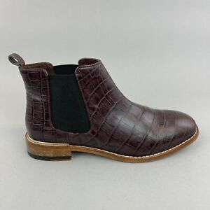 Clarks Burgundy Patent Croc Leather Ankle Chelsea Booties Work Office Boots UK4