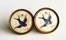 Swallow Earrings Antique Bronze Studs Jewellery Tattoo Rockabilly bird BN