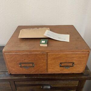 Antique Vintage 2 drawer Card Catalog File Wood Cabinet PLUS index Cards Etc