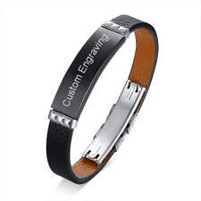 Punk Leather Men Bracelet Cuff Wristband Surfer Statement Free Custom Engraving