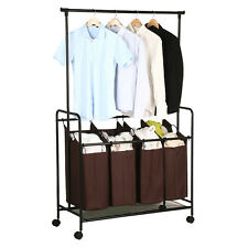 New Brown Rolling 4 Laundry Cart Sorter Hamper with 4 Storage Removable Bag US