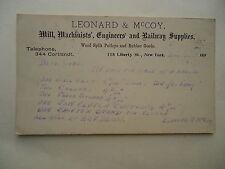 1898 Postcard Leonard & McCoy Machinists Engineers and Railway Supplies NY