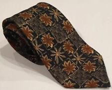 Ermenegildo Zegna Brown Black Floral Print 100% Silk Neck Tie Italy