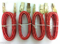 SET OF 4x 2M RED ILLUMINATED GLOW USB 2.0 MALE A TO MALE A CABLES