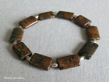 Brown & Green Rainbow Agate Unisex Beaded Bracelet Gift With Sterling Silver