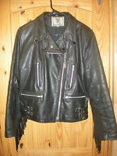 WOMANS DRAG SPECIALTIES BLACK LEATHER FRINGED JACKET SZ 16