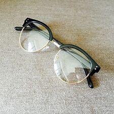Black Oversized Clubmaster Gold Frame Retro Vintage Geek Fashion Glasses 60s 80s