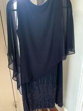 Xscape Women's Plus Size Short Beaded Dress with Chiffon Overlay. Size 14W. Navy