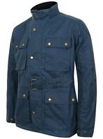 Mens Antique Blue Wax Motorcycle Jacket Classic Coat Belted Biker Waxed Cotton