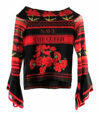 Save The Queen Black with Red Roses Long Sleeve Stretch Mesh Top size M