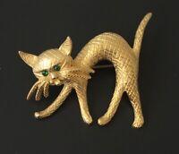 Vintage  cat brooch pin gold tone metal