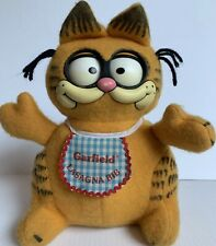 Garfield Vintage Pull String Plush Lasagna Bib 1983 Moving Eyes