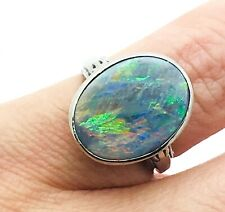 Antique Estate 14k White 3.3g Gold With Black Opal Ring Size 3.5 #ANTQ04
