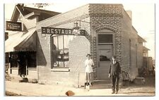 1913 RPPC Buffet Restaurant, Spencer, WI Real Photo Postcard *6A5