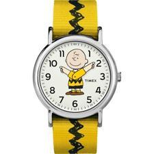 Montre TIMEX WEEKENDER PEANUTS TW2R41100 de Tissu Jaune Blanc NEUF Unisex Snoopy