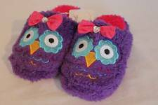 NEW Girls Slippers Small 11 - 12 Purple Owls Scuffs Soft House Shoes Hard Sole