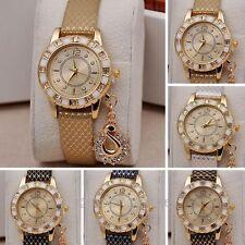 Fashion Women Girl Crystal Swan Pendant Quartz Analog Dress Wrist Watch Bracelet