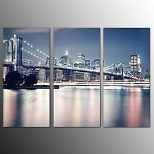 FRAMED Canvas Art Prints Bridge in City Wall Art Canvas Painting Prints-3pcs